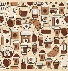 coffee seamless pattern with thin line icon vector image