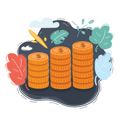 coin stacks on dark background vector image