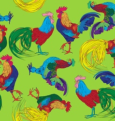 Colored roosters pattern vector