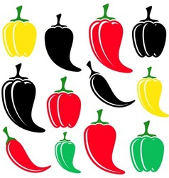 Colorful and black peppers vector