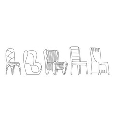 Coloring book page chair comfortable seat vector