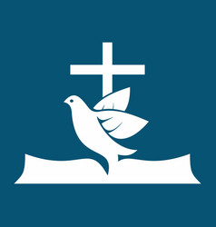 Cross dove and bible vector