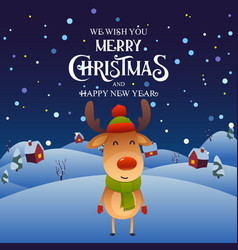 cute cartoon reindeer character merry christmas vector image