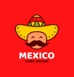 Cute happy smiling mexico man face vector