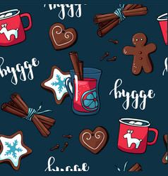 Cute hygge pattern for fabric with christmas vector