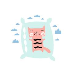 cute kitten on pillow children print for baby vector image
