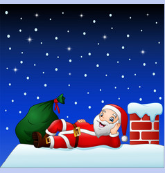 cute santa claus on the house roof chimney with ba vector image