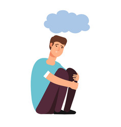 Depressed man depression concept homeless upset vector