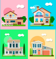 Different residential houses exterior vector