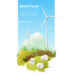 Energy concept background with wind turbine 10 vector