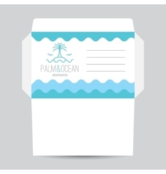 envelope with palm seagulls island and waves vector image