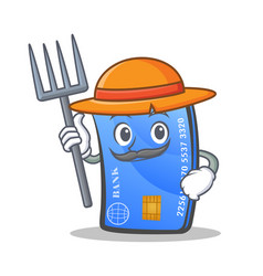 Farmer credit card character cartoon vector