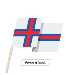 Faroe Islands Ribbon Waving Flag Isolated on White vector image