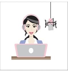 Female brunette Disc Jockey radio station vector