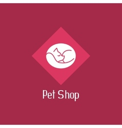 Flat cat sign for pet shop logo vector image