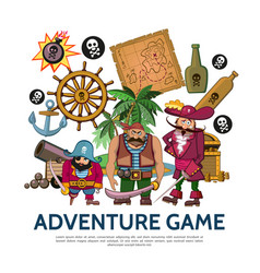 flat colorful adventure game concept vector image