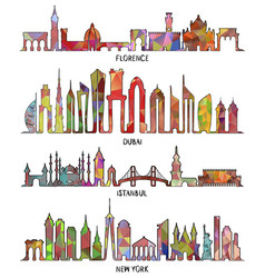 florence dubai new york and istanbul skyline vector image
