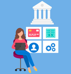 girl with laptop makes financial transactions vector image