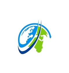 Globe earth ecology rotation abstract logo vector