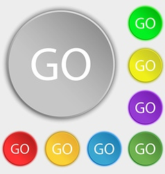 GO sign icon Symbols on eight flat buttons vector