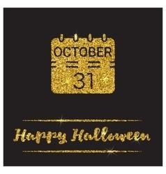 Halloween gold textured calendar icon vector image