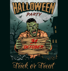 halloween vintage colorful poster vector image
