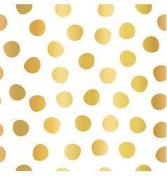 hand drawn polka dots gold foil on white seamless vector image