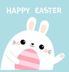 Happy easter rabbit bunny head face holding vector