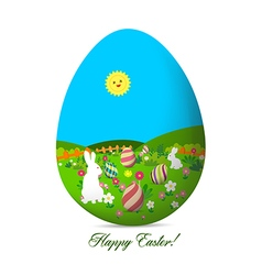 Happy easter with eggs and bunny landscape vector