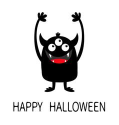 Happy halloween monster black silhouette icon vector