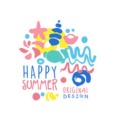 Happy summer logo original design label for vector
