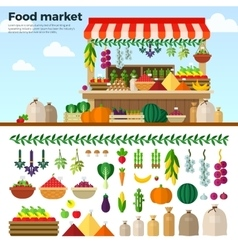 Healthy Food Market of Vegetables Fruits Berries vector image