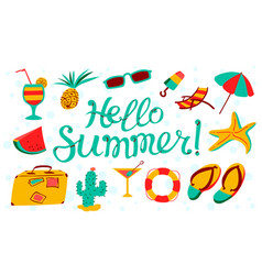 hello summer lettering beach banner seasonal vector image