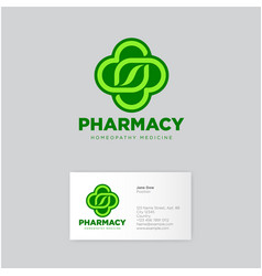 Herbal pharmacy homeopathy logo vector
