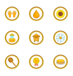 honey production icons set cartoon style vector image