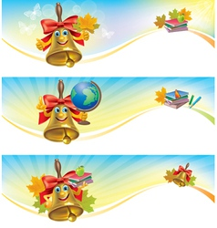 Horizontal banner school bell vector