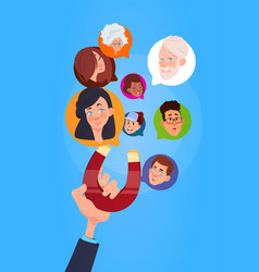 Human hand hold magnet mix race chat bubbles vector