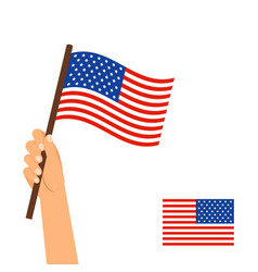 human hand holding flag of usa vector image
