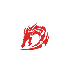 initial letter d dragon tribal china viking logo vector image