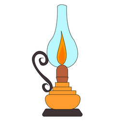 kerosene lamp on white background vector image