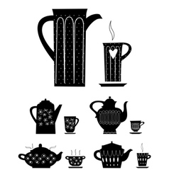 Kettle and cup tea vector