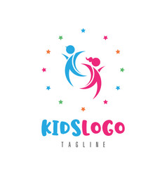 kids logo concept vector image