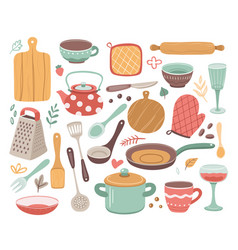 Kitchen tools kitchenware cooking baking vector