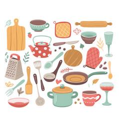 kitchen tools kitchenware cooking baking vector image