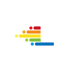l colorful letter speed pixel logo icon design vector image