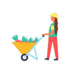 lady working on farm with equipment banner vector image
