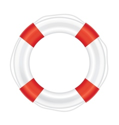Lifebuoy with red stripes and rope salvation vector image