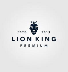 lion king crown vintage retro logo template icon vector image