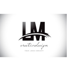 Lm l m letter logo design with swoosh and black vector