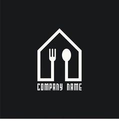 Logo house with spoon and fork vector